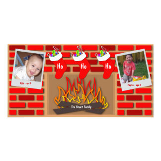 Stockings By The Fireplace Holiday Card Photo Cards