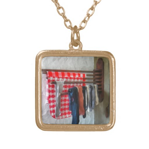 Stockings Hanging to Dry Square Pendant Necklace