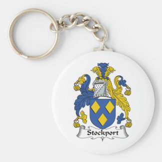 Stockport Family Crest Basic Round Button Key Ring