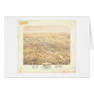 Stockton, CA Panoramic Map 1870 (1667A)-Unrestored Card