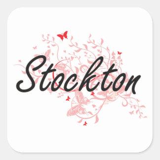 Stockton California City Artistic design with butt Square Sticker