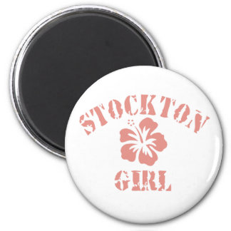 Stockton Pink Girl 2 Inch Round Magnet