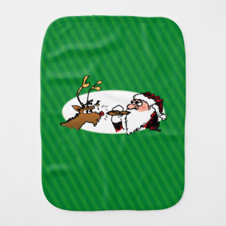 Stogie Santa and Reindeer on Green Stripes Burp Cloth