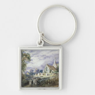 Stoke Poges Church Silver-Colored Square Key Ring