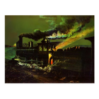 Stoking the Iron Horse ~ Midnight Train POSTCARD