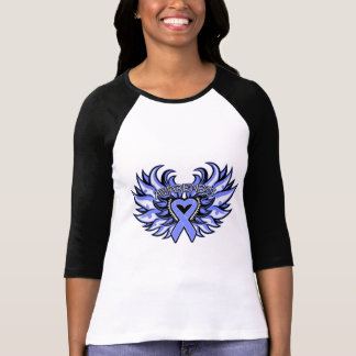 Stomach Cancer Awareness Heart Wings png Tee Shirt
