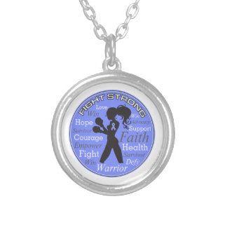 Stomach Cancer Fight Strong Motto Collage Round Pendant Necklace