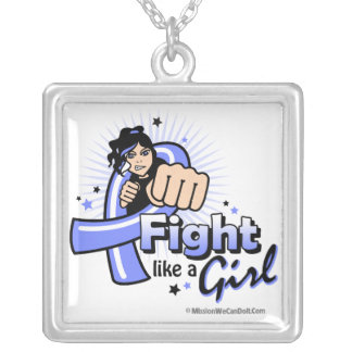 Stomach Cancer Fist - Fight Like a Girl Square Pendant Necklace