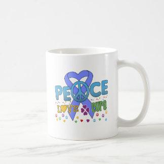 Stomach Cancer Groovy Peace Love Cure Basic White Mug