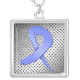 Stomach Cancer Grunge Ribbon Metal Style Square Pendant Necklace