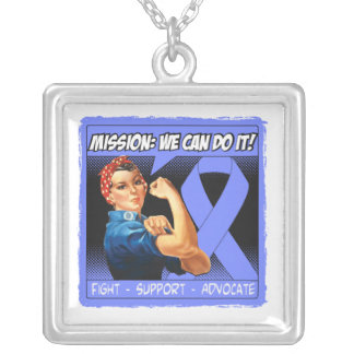 Stomach Cancer Mission We Can Do It Square Pendant Necklace