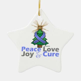 Stomach Cancer Peace Love Joy Cure Ceramic Star Decoration