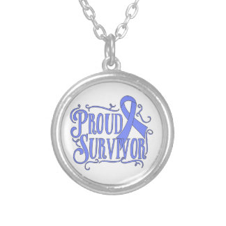 Stomach Cancer Proud Survivor Round Pendant Necklace