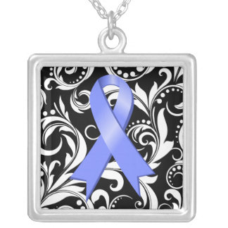 Stomach Cancer Ribbon Deco Floral Noir Jewelry