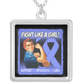 Stomach Cancer Rosie Riveter - Fight Like a Girl Square Pendant Necklace