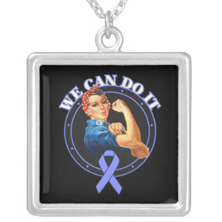 Stomach Cancer - Rosie The Riveter - We Can Do It Square Pendant Necklace
