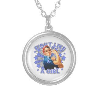 Stomach Cancer Vintage Rosie Fight Like A Girl Custom Necklace