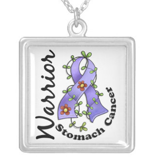 Stomach Cancer Warrior 15 Square Pendant Necklace