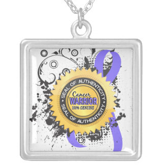 Stomach Cancer Warrior 23 Square Pendant Necklace