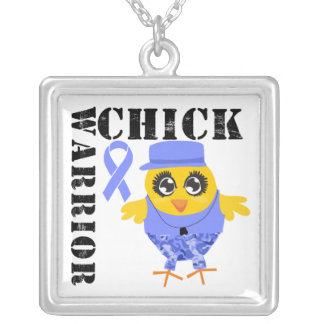 Stomach Cancer Warrior Chick Square Pendant Necklace