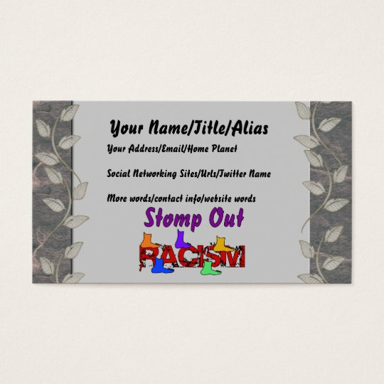 Stomp Out Racism Business Card