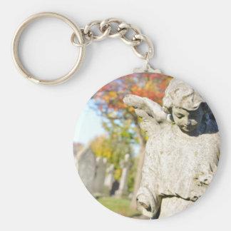 Stone angel basic round button key ring