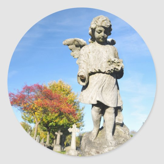 Stone angel classic round sticker