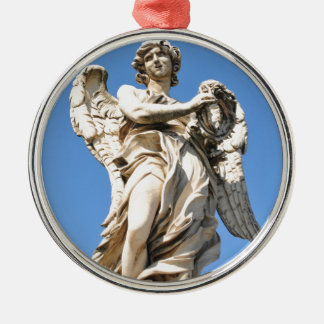 Stone angel in Rome, Italy Silver-Colored Round Decoration