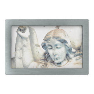 Stone angel portrait belt buckle