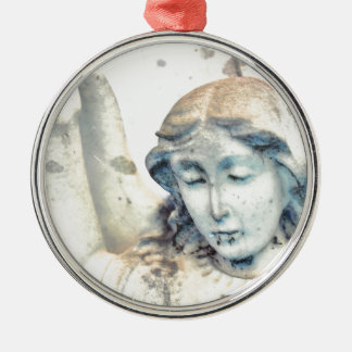 Stone angel portrait Silver-Colored round decoration