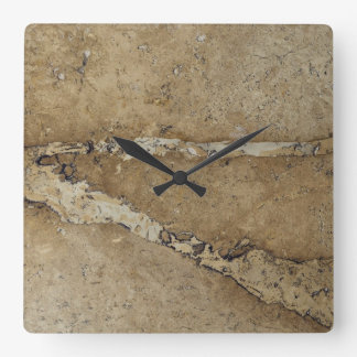 Stone Background - Marble Travertine Rock Template Square Wall Clock