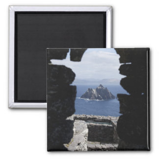 Stone Beehive Monk Huts Clochanson Skellig Michael Square Magnet