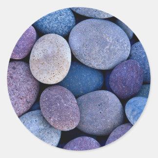 Stone blue rocks classic round sticker