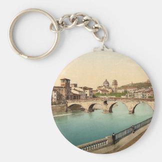 Stone bridge and San Giorgia, Verona, Italy classi Keychain