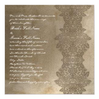 Stone Brown Vintage Damask Wedding Invitation