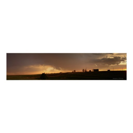 Stone Building Sunset Poster