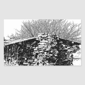Stone Cabin in Black and White Rectangular Sticker