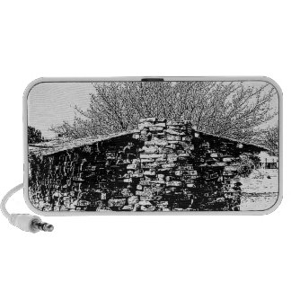 Stone Cabin in Black and White iPhone Speakers
