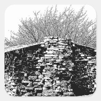 Stone Cabin in Black and White Square Sticker
