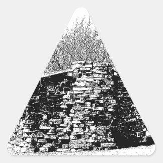Stone Cabin in Black and White Triangle Sticker