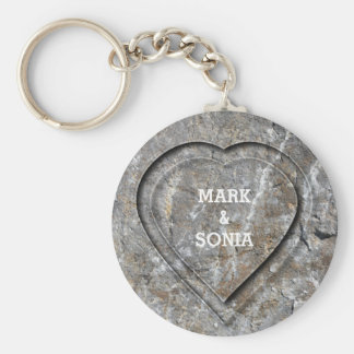 Stone carved heart Bride and Groom Key Ring