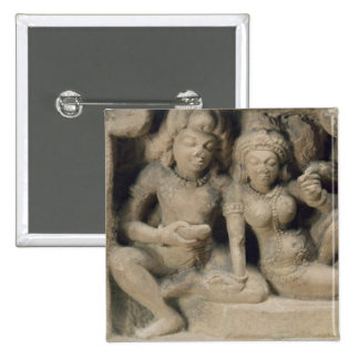 Stone carving of lovers enjoying a dance performan 15 cm square badge