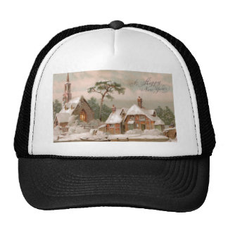 Stone Church and Tudor House in Winter Hats