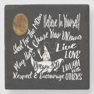 Stone coaster Inspirational Quote Stars @ Night
