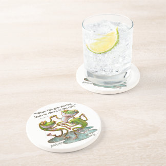 Stone Coasters: Frogs Dancing in Rain With Quote Coaster
