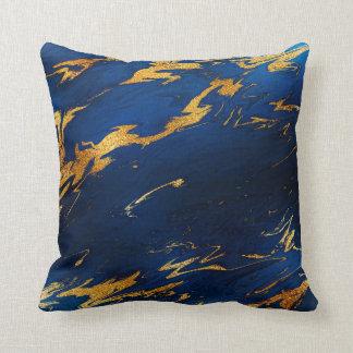 Stone Cobalt Blue Earth Tones Gold Marble Cushion