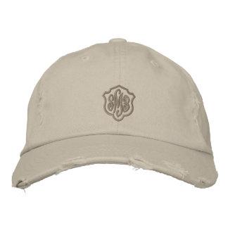 Stone Colored Ladies Distressed Monogrammed Cap Baseball Cap