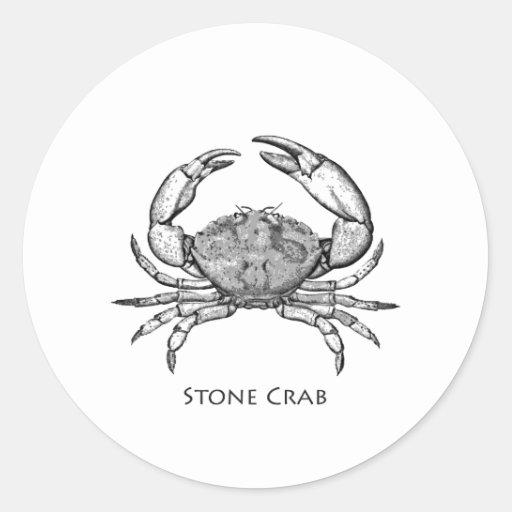 Stone Crab Logo (line art) Round Stickers