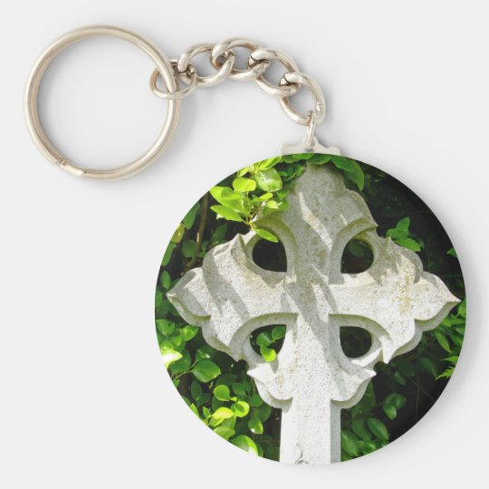 Stone Cross Keyring Basic Round Button Key Ring