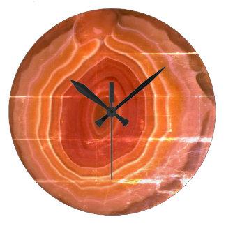 Stone detail orange contemporary modern design large clock
